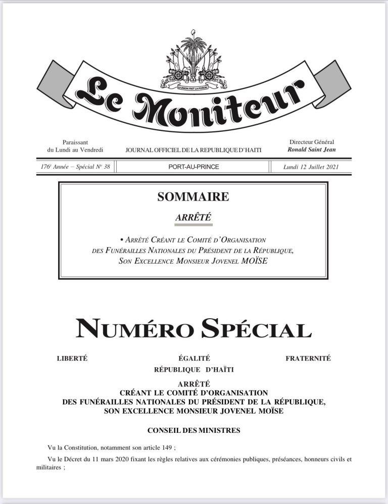 Funérailles de Jovenel Moïse : un comité de sept membres créé